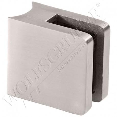 Pince à verre en inox pour tube de diamètre 42,4 - DImension 48x46 (epaisseur verre 33/2)