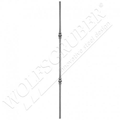 Barreau carré de 12mm, Longueur 1000mm - 2 noeuds
