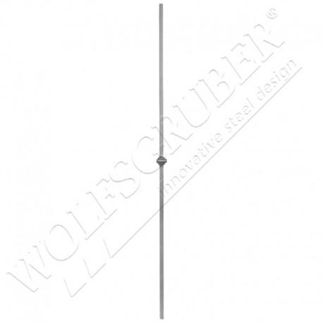 Barreau carré de 12mm, Longueur 1000mm - 1 noeud