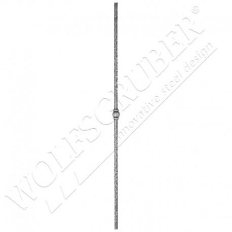 Barreau martelé carré 14mm, Longueur 1000mm - 1 noeud