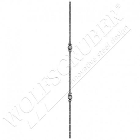 Barreau martelé carré 14mm, Longueur 1000mm - 2 noeuds carrés