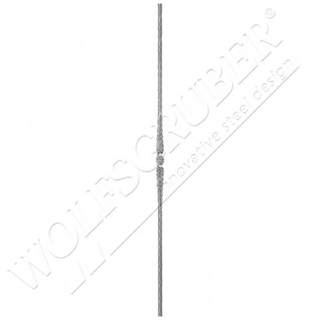 Barreau martelé carré 12mm, Longueur 1000mm - 1 motif applati