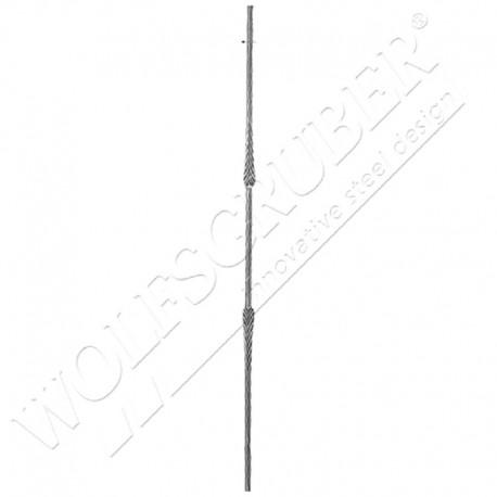 Barreau martelé carré 12mm, Longueur 1000mm - 2 motifs applati