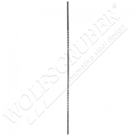 Barreau carré de 12mm, Longueur 1000mm - 2 torsades