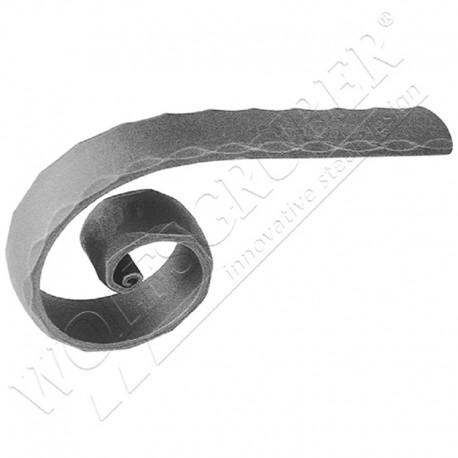 Départ de main courante en forme de O martelé - Dimension 40x8