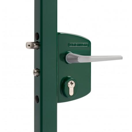 Serrure type industriel coffre vert profil 40/50 - Portail battant