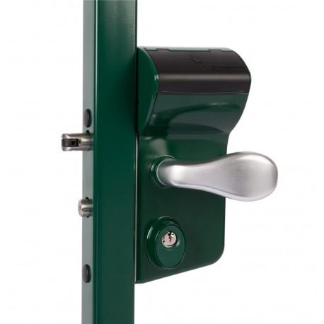 Serrure à code mécanique coffre vert pour profil 40/50 de portail battant