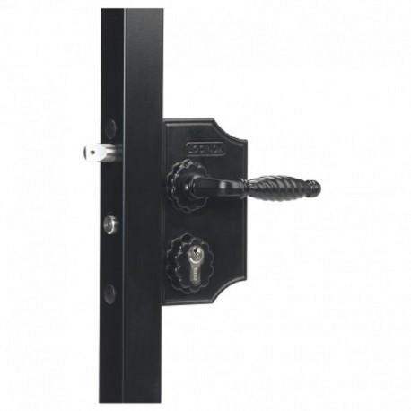 Serrure fer forgé coffre 90 noir pour profil 30/40 de portail battant