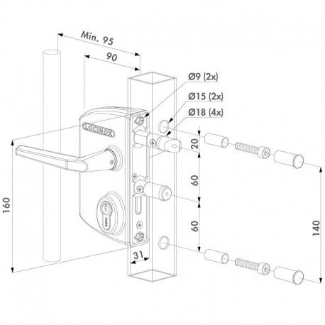 Serrure type industriel coffre blanc profil 60/70 - Portail battant