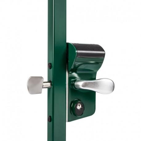 Serrure à code mécanique coffre vert pour profil 50 de portail coulissant
