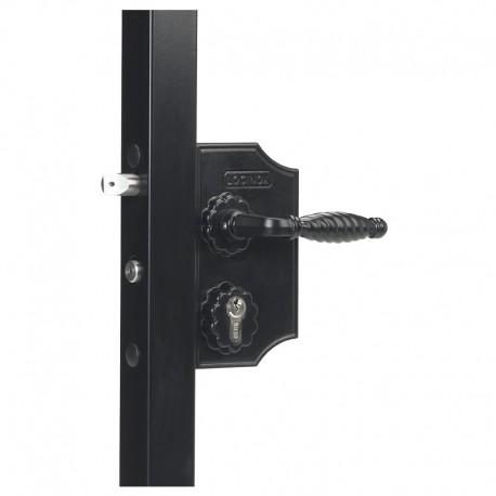 Serrure type fer forgé coffre 90 noir pour profil 40/50 de portail battant