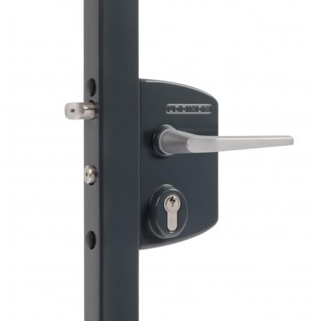Serrure coffre gris pour profil 40/50 - Portail battant