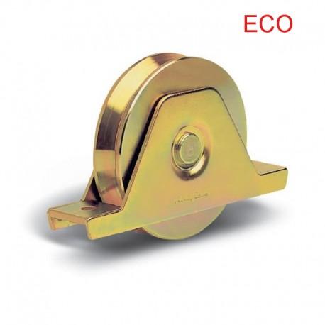 Roue éco 2 roulements avec support plié interne - Ø140 - Gorge V