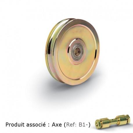 Roue 2 roulements pour axe graisseur - Diamètre 100 - Gorge V