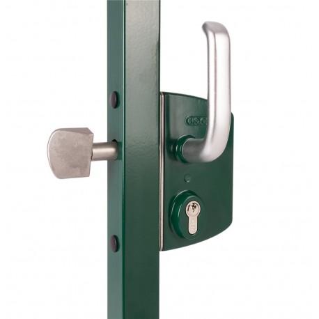 Serrure type industriel coffre vert pour profil carré de 50 pour portail coulissant