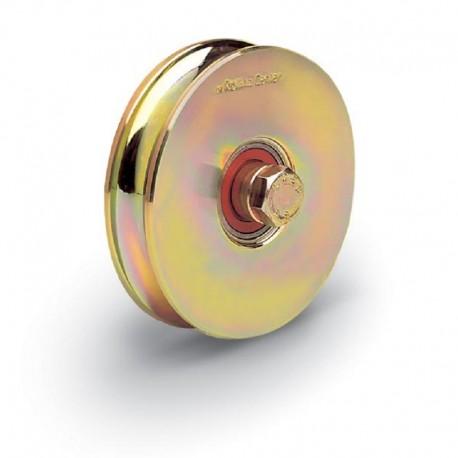 Roue 1 roulement avec boulon traversant - Diamètre 80 - Gorge O de 21 mm