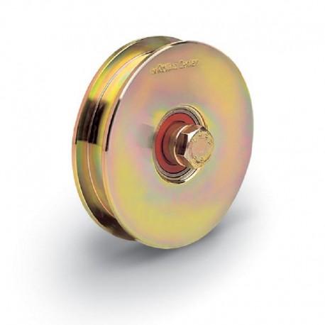 Roue 2 roulements avec boulon traversant diamètre 100 - Gorge carrée
