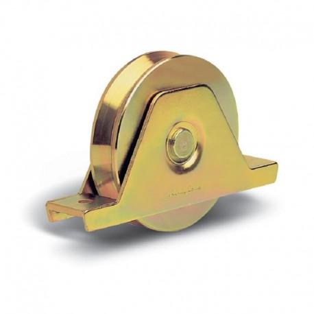 Roue 2 roulements avec support plié interne diamètre 80 - Gorge V