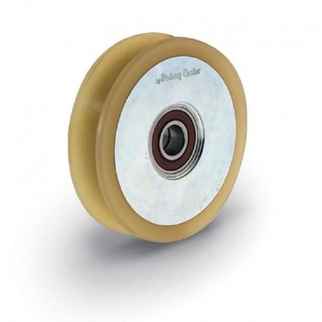 Roue 2 roulements avec boulon traversant et vulcolan - Diamètre 120 - Gorge O