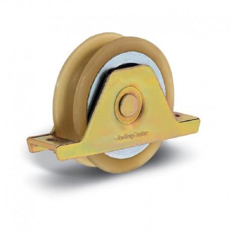 Roue 1 roulement avec support plié interne avec vulcolan diamètre 90 - Gorge O