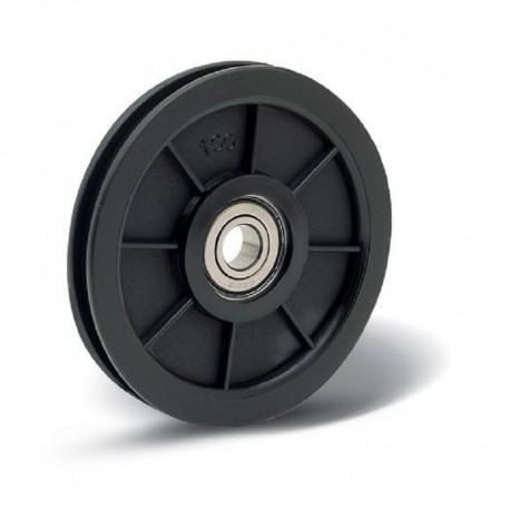 Poulie nylon diamètre 100 avec roulement diamètre 15 pour câble