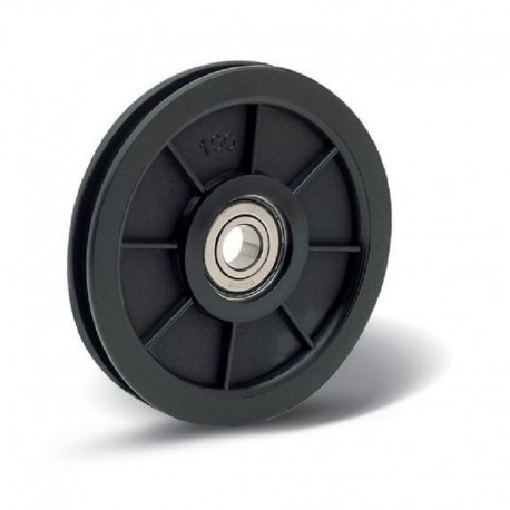 Poulie en nylon de diamètre 120 avec roulement Ø15 pour câble en nylon
