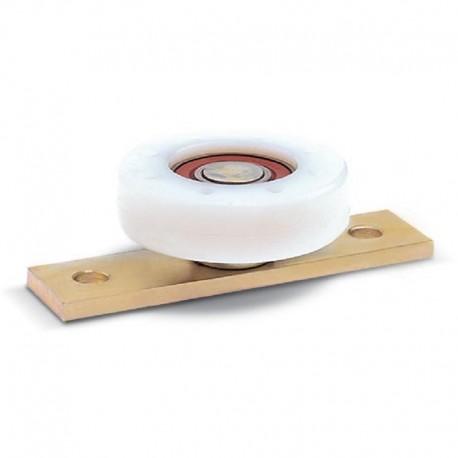 Roue en nylon avec roulement sur plaque  - Diamètre 80