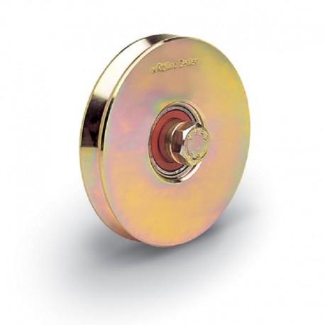 Roue 1 roulement avec boulon traversant - Diamètre 160 - Gorge V