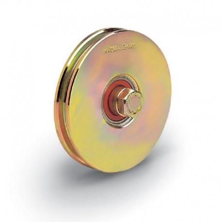 Roue 1 roulement avec boulon traversant - Diamètre 80 - Gorge carrée