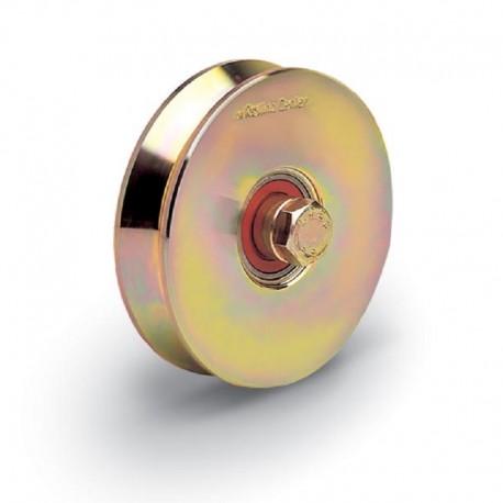 Roue 2 roulements avec boulon traversant diamètre 120 - Gorge V