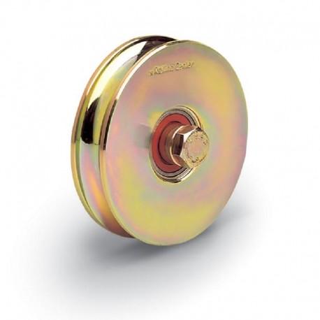 Roue 2 roulements avec boulon traversant diamètre 120 - Gorge O de 21 mm