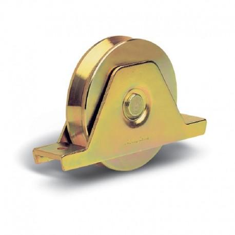 Roue 1 roulement avec support plié interne - Diamètre 100 - Gorge V
