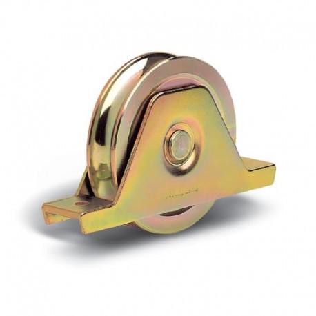 Roue 1 roulement avec support plié interne diamètre 100 - Gorge O