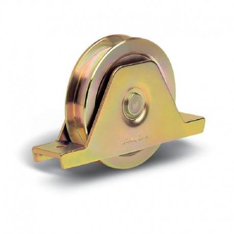 Roue 2 roulements avec support plié interne diamètre 120 Gorge carrée de 17 mm