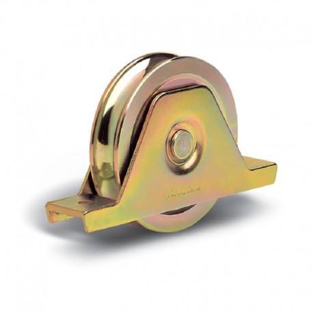 Roue 2 roulements avec support plié interne diamètre 100 - Gorge ronde