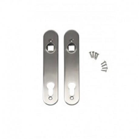 Plaque de propreté pour serrure et poignée à encastrer - Inox (x2 pièces)