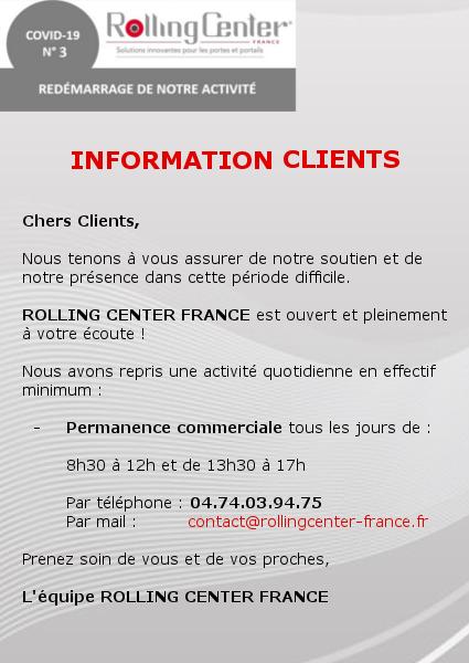 Information clients - permanences commerciale 2020 Rolling Center France